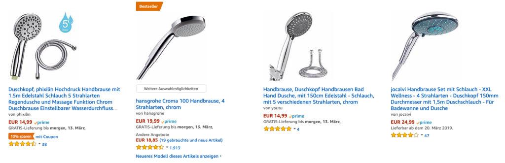 Ein Set aus Duschkopf mit Schlauch kaufen, das geht bspw. bei Amazon. Hier finden Sie die besten Angebote und Ratgeber weiterer Kategorien.