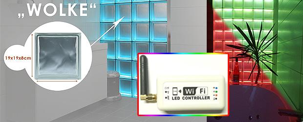 Glasbausteine dusche led  LED Glasbausteine für Duschwand mit Farbwechsel & Raumteiler mit Licht