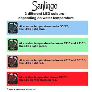 Brausekopf mit 3 Farben Farbwechsel und 5-fach Funktionen Thermometer in Chrom