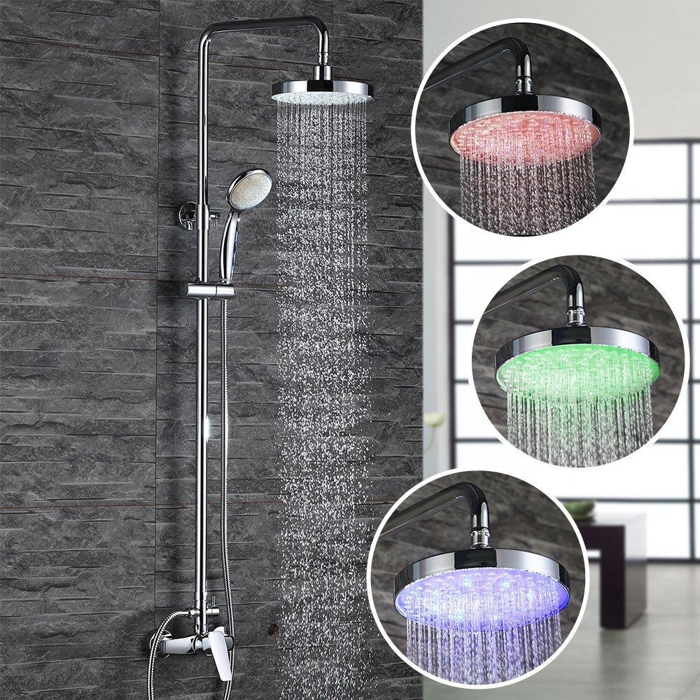 Regendusche mit LED Licht bei Amazon kaufen bestellen online LED Duschkopf