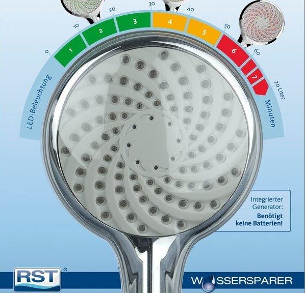 led duschkopf wasser sparen farbwechsel rot grün wasserverbrauch dusche brause farbe