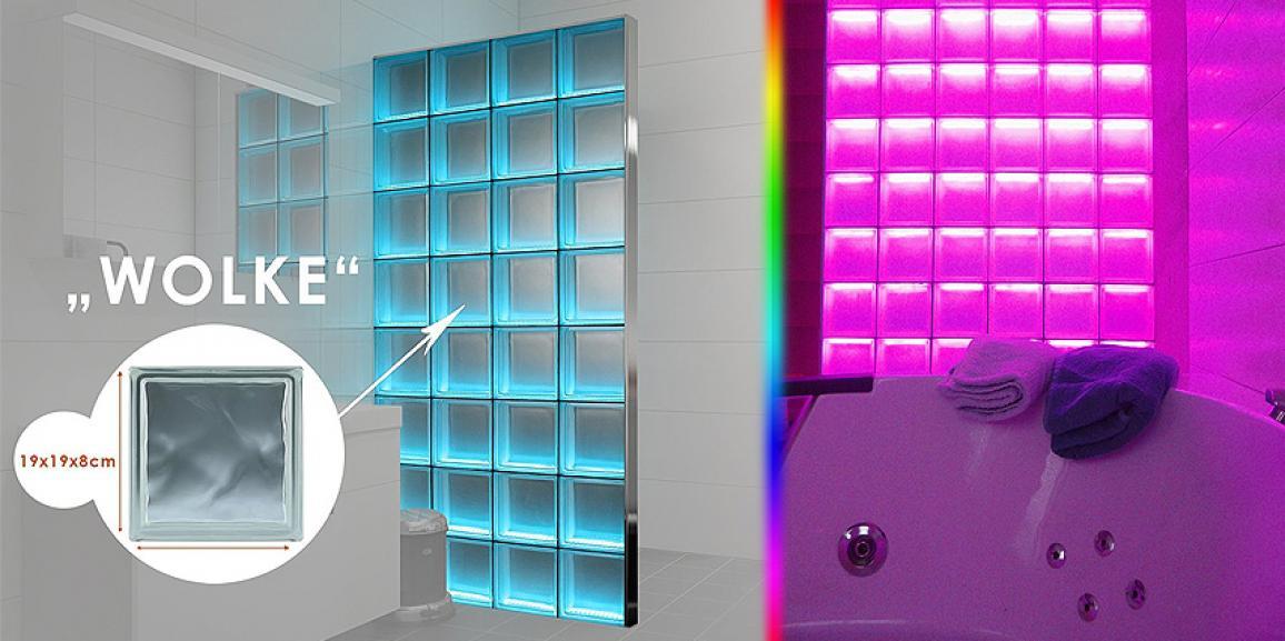 LED Glasbausteine mit Farbwechsel als Raumteiler, Duschwand und Baddekoration
